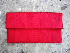 NEON  Red Fold Over Python Snakeskin Leather Clutch Bag par linmade, $118.00