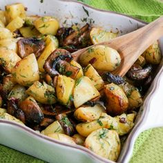 Flavor up your regular potatoes with mushrooms and pancetta.