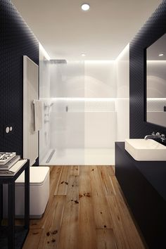 no lip shower entry, back wall shelf, linear drain, faux wood floor tile, clean lines no curtains/doors