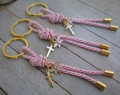Luxury martyrika-Evil eye martyrika -Key chains Baptism Favors- Gold and blue martyrika-formal style martirika Crafts To Sell, Diy And Crafts, Baptism Favors, Christening Favors, Scented Sachets, Cross Art, Baby Baptism, Ribbon Bookmarks, Diy Keychain