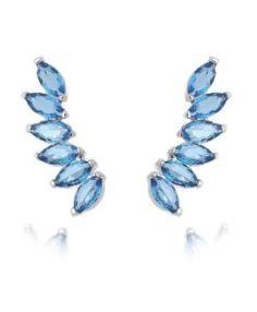 ear cuff prata com zirconias azuis marinha semijoias
