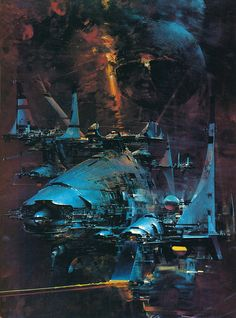 The art of John Berkey from his 1970s 'Portal' poster series. I can't think of any way to describe Berkey's style other than 'majestically messy.' He was responsible for some brilliant book covers in the 1970s and 80s but he is probably best known for his Star Wars artwork.