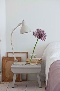 Go for more of a shabby chic vibe with this lavender bedroom decor.