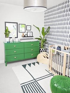 "There are three key pieces. ""Nursery basics can be boiled down to a crib, a rocker or chair for feeding, and a changing station."" —Emily Henderson  Repurpose furniture. ""Instead of buying a traditional changing table, we put a changing pad on top of a vintage '70s console that we doubly secured to the wall for safety."" —Nate Berkus, star of TLC's Married to Design: Nate & Jeremiah  Everything doesn't have to match. ""A furniture set, where the dresser matches the crib, looks too much ..."