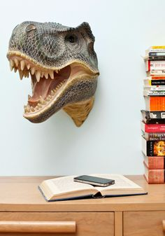 T-rex is my spirit animal.Fun for Your Life Wall Decor in Dino. Stand perfectly still, and youll be the first to see your guests catching a glimpse of this jaw-dropping creature as it seems to burst through your wall! Cottage Chic, Vintage Decor, Retro Vintage, Store Concept, Dinosaur Head, Dinosaur Hunter, Hollywood Regency, My New Room, T Rex