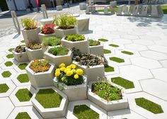 Systém H-E-X, hexagonal concrete outdoor system, honeycomb, flowers, hexagon Landscape Architecture Design, Urban Architecture, Architecture Details, Parque Linear, Interactive Walls, Parking Design, Urban Furniture, Urban Landscape, Green Building