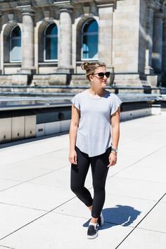 ruffle sleeved shirt with leggings styled in Berlin, a fashion post on sweetly sally