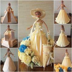 DIY crepe paper barbie dress tutorial,instruction. Follow us: www.facebook.com/fabartdiy