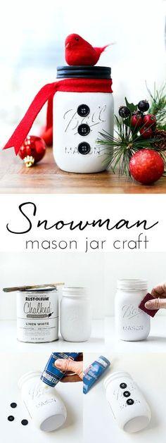 Snowman Mason Jar Craft - Winter Craft Ideas with Mason Jars