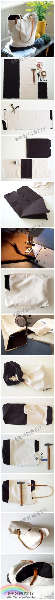 Pinspire - Bolsa original; picture tutorial with written instruction in english: http://www.designsponge.com/2010/10/diy-project-renskes-minimalist-tote-bag.html