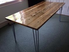 Dining table- scaffold boards and hair pin legs