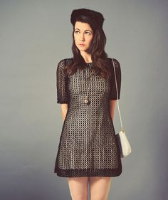 1960s inspired mini dress with black lace overlay, vintage crochet lace patterned cocktail dress with three quarter sleeve, size small