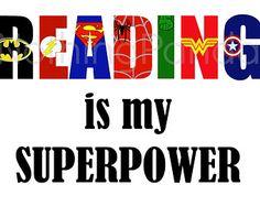 Reading Is My Superpower // Superhero Wall Art // Superhero Logos // Library Wall Art