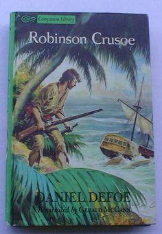 Robinson Crusoe by Daniel Defoe Hardcover, Companion Library, Classic Childrens Books, Vintage Hardcover Books, Classic Novels, Kids Books by jeanienineandme on Etsy