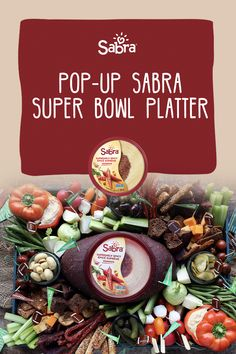 Move over Nachos and Chicken Wings, this Sabra Super Bowl platter has a kick and will score many touch downs with all of your party guests. It's fresh, vibrant and has many options for delicious dipping to satisfy. Spicy Hummus, Guacamole Dip, Marinated Olives, Small Mason Jars, Party Platters, Party Guests, How To Dry Oregano, Nachos, Cherry Tomatoes