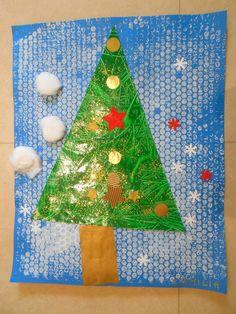 Sapin de Noël - collage et peinture en petite section