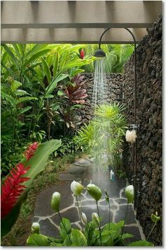I love the idea of showering outside surrounded by trees and flowers. Feeling very Tarzan and Jane.