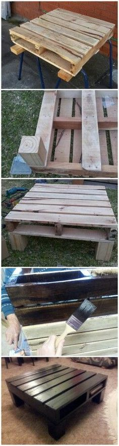 Pallet Tables Projects Pallet project, DIY coffee table, pallet furniture, rustic, pallet table - if you add a cushion it would be a seat. Pallet Crafts, Pallet Projects, Home Projects, Diy Crafts, Diy Pallet, Pallet Ideas, Pallet Porch, Outdoor Pallet, Pallet Furniture