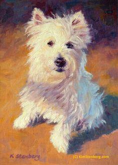 "Westie Custom Pet Portrait Dog Painting Original Oil Painting 8 x 6"" by KimStenbergFineArt $135"