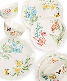 Bring some springtime charm to your Easter celebration with eye-catching floral motifs — Lenox Dinnerware Butterfly Meadow Bloom collection