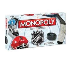 Monopoly Nhl by USAopoly. $34.99. From the Manufacturer                Hit the ice! What fan hasn't dreamed of owning and running an NHL® team? The National Hockey League and the MONOPOLY game have teamed up to put an exciting new spin on America's favorite board game. Now you can buy, sell and trade all 30 NHL® teams in a quest to own them all!  Toronto Maple Leafs, Boston Bruins, Los Angeles Kings – they are all up for grabs.  Put on your game face and ...