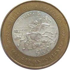 Moneda de plata 100 pesos Mexico 2005 Don Quijote.