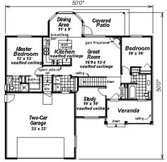 House Plan chp-14589 at COOLhouseplans.com Number of Bedrooms: 2 Number of Bathrooms: 2.0 Width of House: 50 feet Depth of House: 50 feet First Floor: 1194 sq. ft.