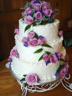 Purple and Pink Wedding Cake By Cakeasyoulikeit on CakeCentral.com