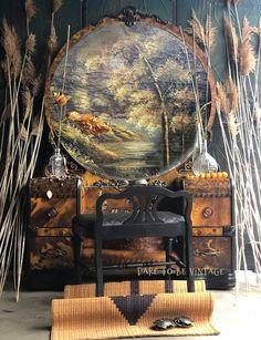 Bohemian Furniture, Vintage Furniture, Makeup Dressing Table, Art Deco Vanity, Vintage Glam, Vintage Art, Hand Painted Furniture, Selling Art, Tortoise Shell