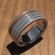 Titanium and Copper Woven Texture Wedding Ring by spexton on Etsy