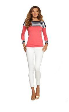 Maria Boatneck Sweater - Watermelon Mile High Stripe