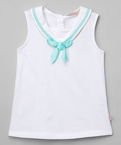 Loving this White & Pistachio Sailor Bow Tank - Infant, Toddler & Girls on #zulily! #zulilyfinds