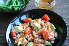 Rice, Black Bean and Avocado Bowl with Sweet Chili Mustard Dressing