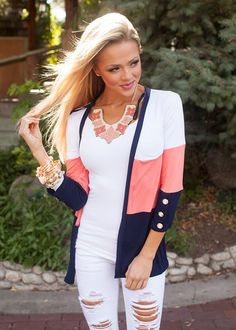Online boutique. Best outfits. When I Find You Cardigan Coral - Modern Vintage Boutique