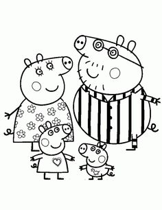peppa pig and her family wearing pajamas coloring page - I Colouring Pages