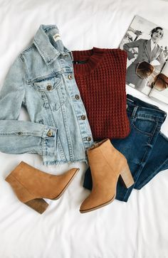 daily dress me burgundy sweater with a jean jacket and brown booties. Visit Daily Dress Me at for more inspiration women's fashion fall fashion, casual outfits, sc Fashion Mode, School Fashion, Fashion 2018, Look Fashion, Trendy Fashion, Winter Fashion, Fashion Images, Feminine Fashion, 2000s Fashion