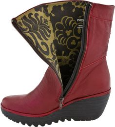 Fly London Yari Women's Wedge Boot (Red Mousse) [KMNL1060 ...