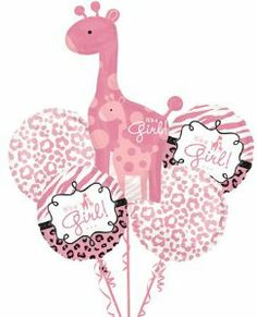 Our Pink Safari Baby Shower Balloon Bouquet features a giant pink giraffe balloon. With matching pink animal print balloons, Pink Safari Baby Shower Balloon Bouquet is too cute!
