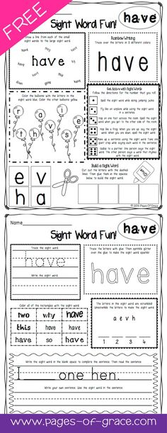 Are you looking for some fun ideas and activities for teaching sight words? This FREE packet has 12 activities and games for each word. There are 2 worksheets for each word. These printables are great for literacy centers and independent practice in the classroom and at home. Great for advanced pre k, kindergarten, and first grade. My kids love learning sight words with these activities. Help improve sight word fluency with this fun practice packet. Click on the picture to download FREE!