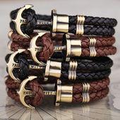 Leather Anchor Bracelet Brown