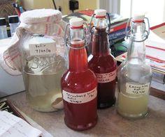 kefir brewing - some great recipes: lemon lime, fuzzy navel peach soda... Yum!!