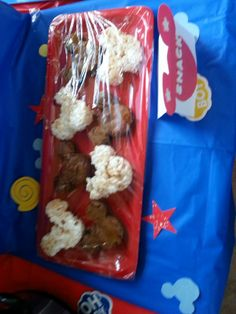Brownies and rice krispy mickey mouse. I used a mickey cookie cutter.