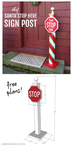 DIY Santa Stop Here Post Free Plans - Jaime Costiglio santa stop here post free plans<br> A DIY tutorial to build a Santa stop here sign post perfect for your exterior space. Includes free printable plans and printable lettering for sign. Christmas Yard, Christmas Signs, Outdoor Christmas, Christmas Projects, All Things Christmas, Holiday Crafts, Christmas Holidays, Christmas Ornaments, Scandinavian Christmas