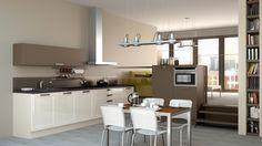 Schmidt keuken, type 'Mikado' in combinatie met type 'Loft' in de kleuren 'Magnolia HGL' en 'Marron Glace'. Dit model is verkrijgbaar bij Keukencentrum P. de Haan te Langweer.