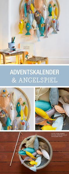 DIY-Anleitung: Adventskalender mit Fischen als Angelspiel für die ganze Familie nähen / DIY tutorial: sewing advent calendar with fish as fishing game for the whole family via DaWanda.com