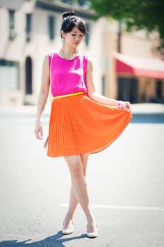I was on neon (specifically orange and pink) back in high school but got laughed at. Oh how times change. Hot-pink-forever-21-dress-neutral-asos-bag_400