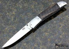 Rex Robinson Custom Knives Carved Buffalo Horn Linerlock - Rex Robinson custom knife - image 1