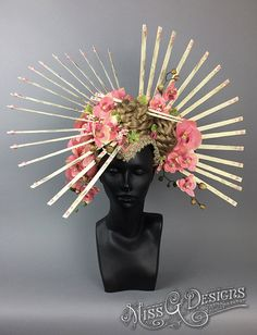 Geisha Asian Inspired Orchid Flower Headdress made with painted wood and a variety of orchid and cherry blossom flowers, accented with trim, braided hair, chopsticks and pearls. Attaches to the head with 2 adjustable elastic straps. Lightweight and easy to wear. Handmade by Caley Johnson of MissGDesignsShop in LA - $325 on Etsy