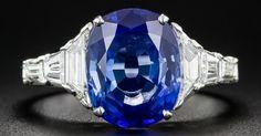 3.54 Carat No-Heat Sapphire, Platinum and Diamond Ring