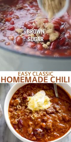 Everyone needs a good Classic Homemade Chili recipe and this one is simply perfect! Its made with ground beef (or ground turkey) and Ive included tips for how to make chili on the stovetop or in the slow cooker. Best Chili Recipe, Chilli Recipes, Crockpot Recipes, Slow Cooker Recipes, Mexican Food Recipes, Soup Recipes, Cooking Recipes, Chili Recipe Stovetop, Chili Recipes With Beef